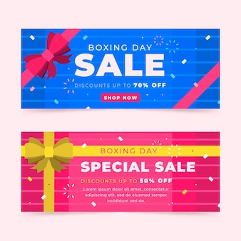 Boxing day sale banner im flachen design