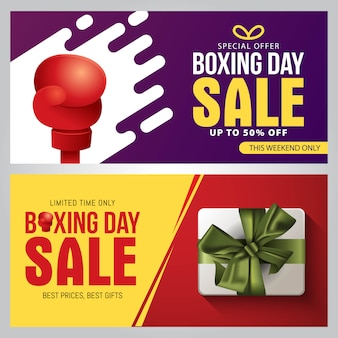 Boxing day sale banner schablonendesign