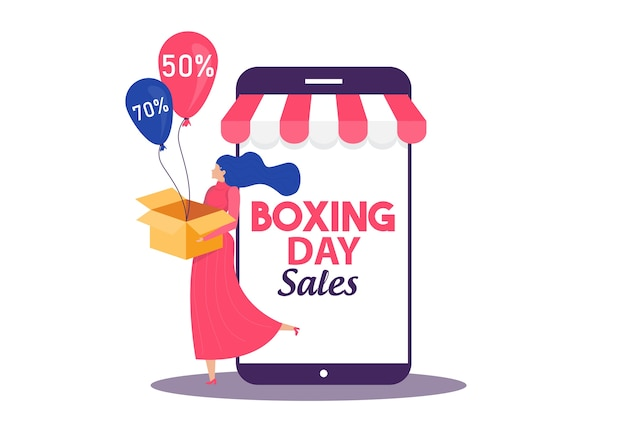 Boxing day sale, frau einkaufen saisonale rabatte kampagne flat advertising