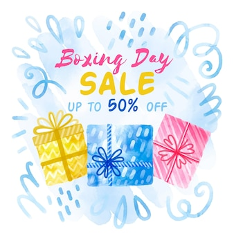 Boxing day sale geschenke in aquarell