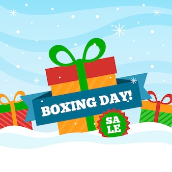 Boxing day sale im flachen design