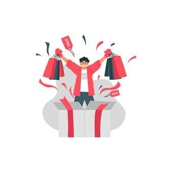 Boxing day sale mit glücklichem mann halten einkaufstasche und kaufen trendartikel illustration