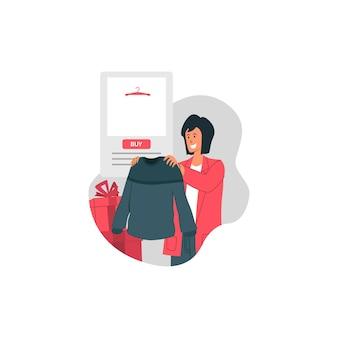 Boxing day sale mit happy girl hold sweater und kaufen trendartikel illustration