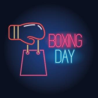 Boxing day sale neonröhren mit handschuh und einkaufstasche vektor-illustration design