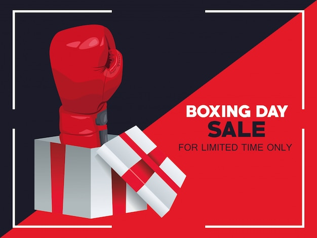 Boxing day sale poster mit handschuh in geschenk vektor-illustration design