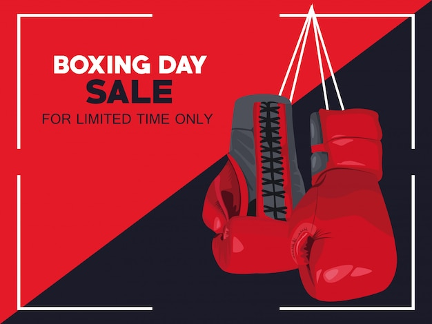 Boxing day sale poster mit handschuhen vektor-illustration design