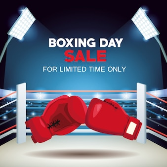 Boxing day sale poster mit handschuhen