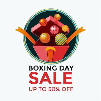 Boxing day sale-schablonendesign mit offener geschenkboxillustration