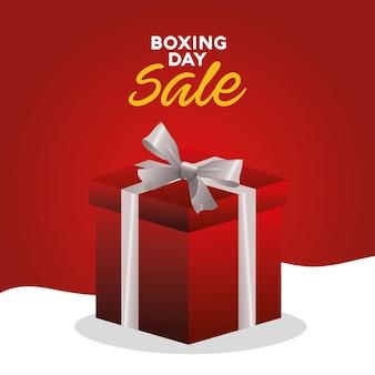 Boxing day sale schriftzug mit geschenk geschenk illustration
