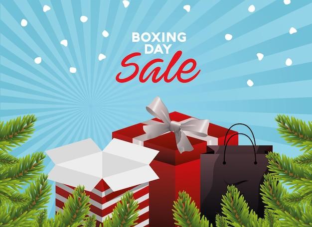 Boxing day sale schriftzug mit geschenken und tasche in tannenillustration