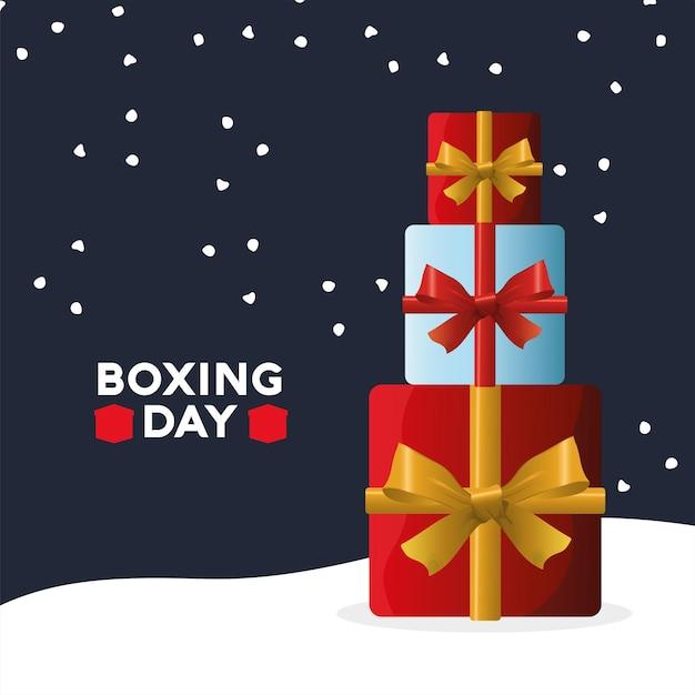 Boxing day sale schriftzug mit stapel geschenke illustration