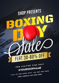 Boxing day, verkauf banner, poster oder flyer design mit rabatt-angebot.