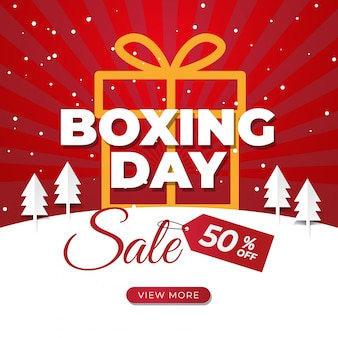 Boxing day-verkaufsfahne für social media-beitrag