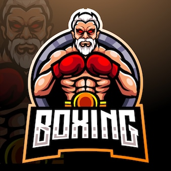 Boxing esport logo maskottchen design