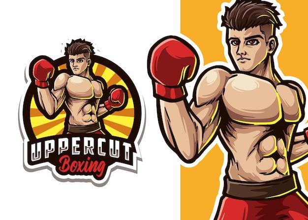 Boxing mascot logo illustration