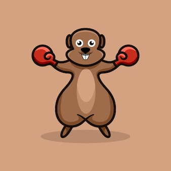 Boxmaskottchen-logo-design-vektor-illustration