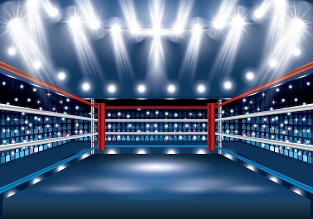 Boxring mit scheinwerfern.