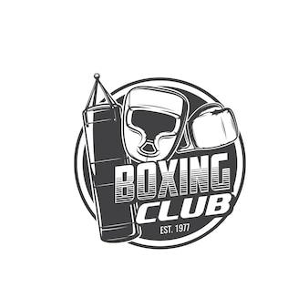 Boxsport isolierte ikone mit boxerhandschuhen, helm und boxsack