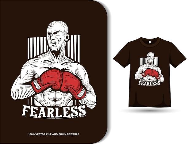 Boxsportler bereit, illustration mit bearbeitbarem text und t-shirt-designvorlage zu bekämpfen