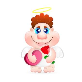 Boy cupid mit rose und herz. grußkarte. hochzeit, valentinstag.