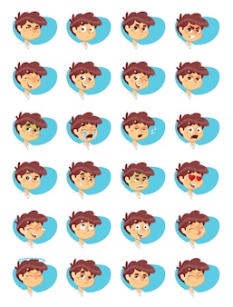 Boy expressions icons pack