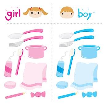 Boy girl appliance privaten vektor niedlichen cartoon-design
