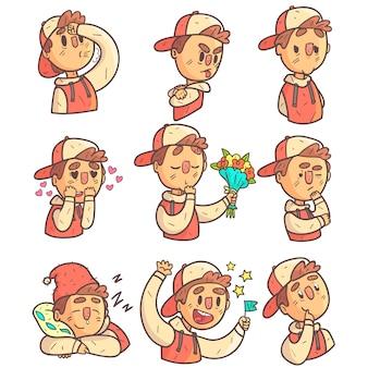 Boy in cap und college jacket sammlung von handgezeichneten emoticon cool outline-porträts
