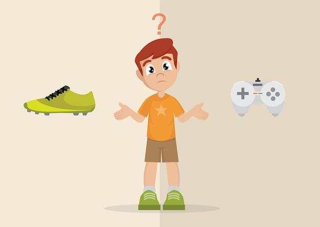Boy's wahl zwischen sport oder spiele spielen