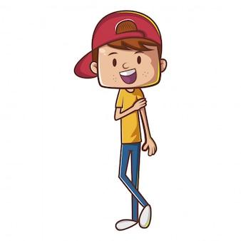 Boy zeichentrickfigur mit red hat