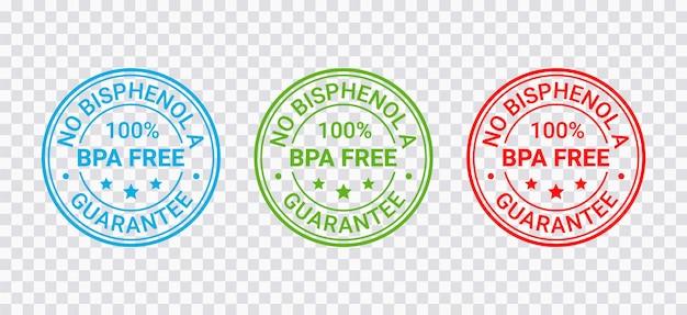 Bpa-freier stempel. ungiftiges plastikemblem. öko-verpackungsaufkleber. vektor-illustration.