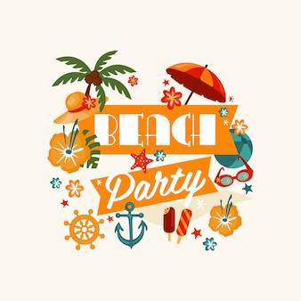 Brach party banner mit schriftzug