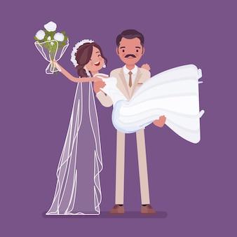 Bräutigam, der braut auf hochzeitszeremonie trägt