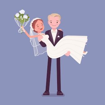 Bräutigam trägt braut bei der hochzeitszeremonie