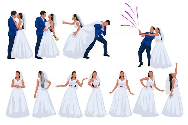 Bräutigam und braut auf weißem hintergrund eingestellt