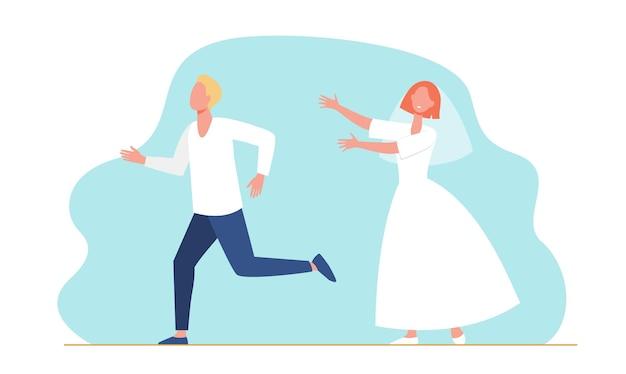 Bräutigammann läuft von der brautfrau im hochzeitskleid