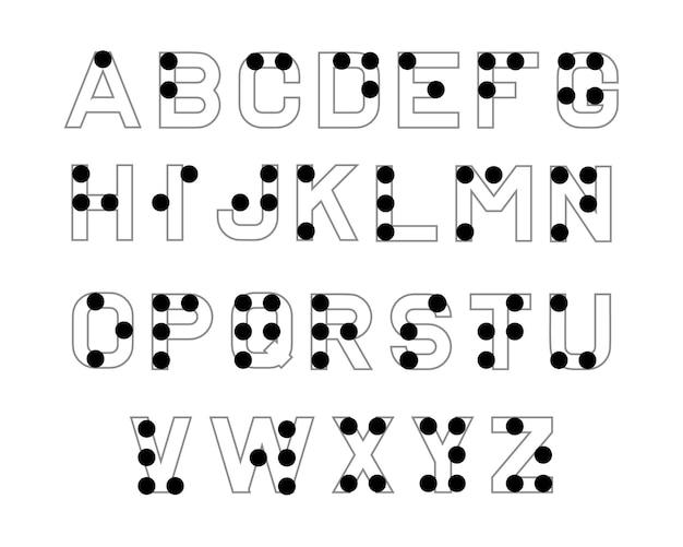 Braille-alphabet. englische version des braille-alphabets. abc für sehbehinderte blinde menschen. Kostenlosen Vektoren