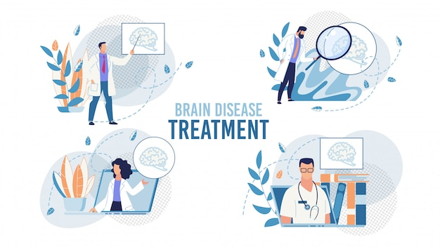 Brain disease treatment set mit ärzte-szene
