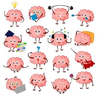 Brain emotion cartoon brainy charakter ausdruck emoticon und intelligenz emoji studieren illustration brainstorming satz von geschäftsmann oder superman kawaii isoliert auf weißem hintergrund