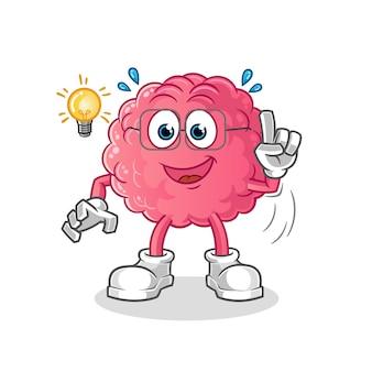 Brain hat eine idee, die auf weiß isoliert ist