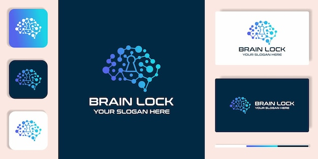 Brain lock kombinationslogo mit punktmolekül und visitenkartenentwurf