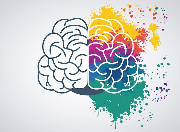 Brain power illustration mit festgelegten lackfarben