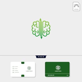 Brain premium-logo-vorlage, visitenkarte-vorlage enthalten
