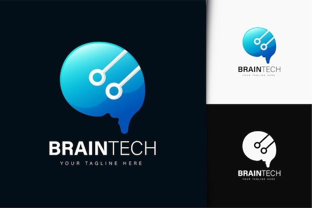 Brain tech logo-design mit farbverlauf
