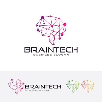 Brain tech, logo vorlage