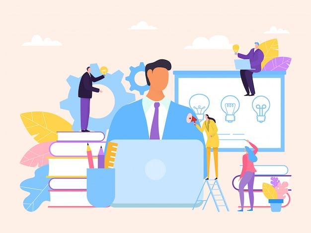 Brainstorming am geschäftstreffenkonzept, illustration. die mitarbeiter des unternehmens bieten dem teamleiter ideen und kreative unterstützung.