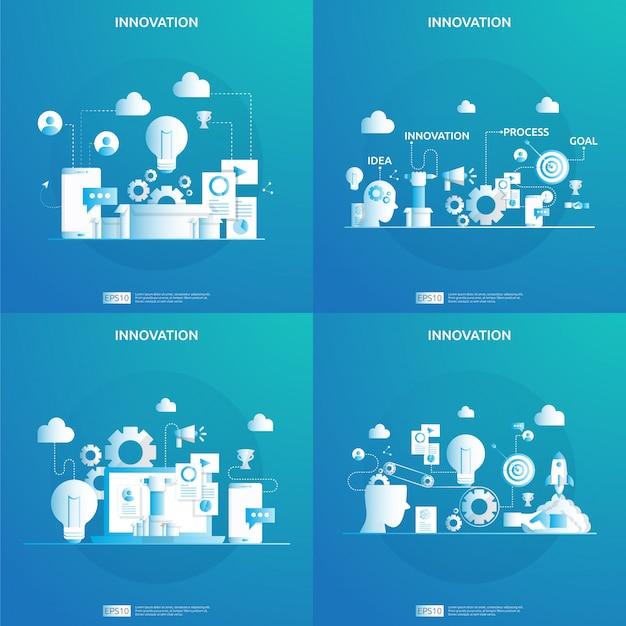 Brainstorming des innovationsideenprozesses und des kreativen denkkonzepts mit glühbirnenlampe für das start-up-geschäftsprojekt. illustration für web-landingpage, banner, präsentation, social media, print