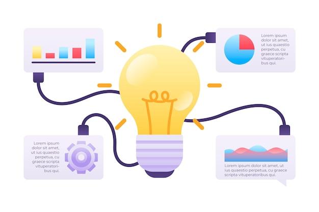 Brainstorming-infografiken in flachem design