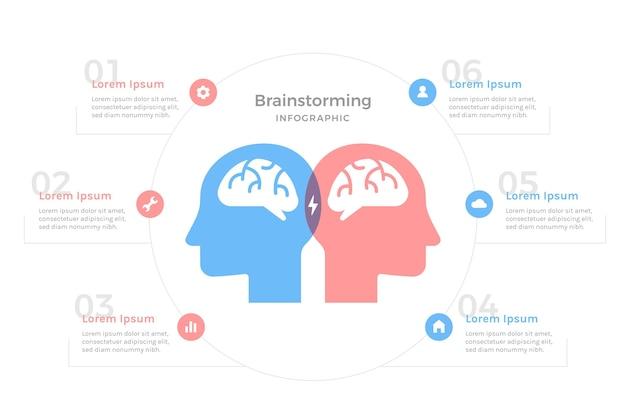 Brainstorming-infografiken mit flachem design