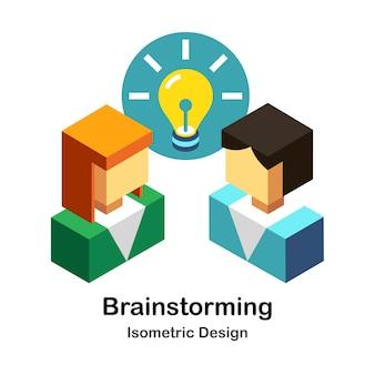 Brainstorming-isometrische illustration