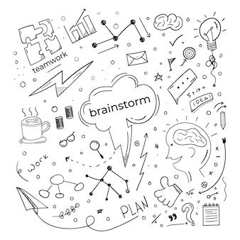 Brainstorming-kritzel-doodle-elemente